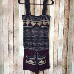 Free People Printed Boho Acrylic Wool Romper